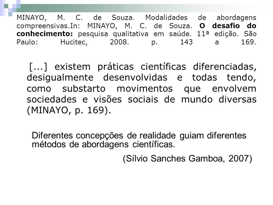 MINAYO, M. C. de Souza. Modalidades de abordagens compreensivas.In: MINAYO, M. C. de Souza. O desafio do conhecimento: pesquisa qualitativa em saúde.