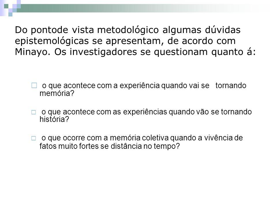 Do pontode vista metodológico algumas dúvidas epistemológicas se apresentam, de acordo com Minayo.
