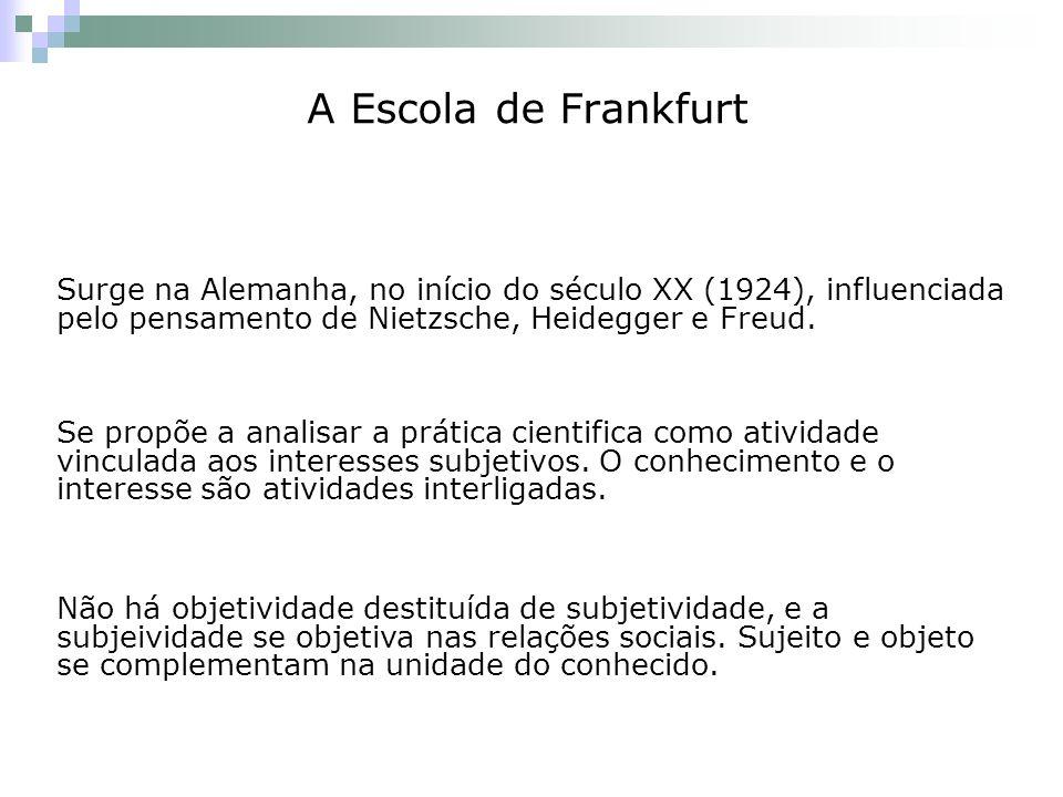 A Escola de Frankfurt Surge na Alemanha, no início do século XX (1924), influenciada pelo pensamento de Nietzsche, Heidegger e Freud. Se propõe a anal