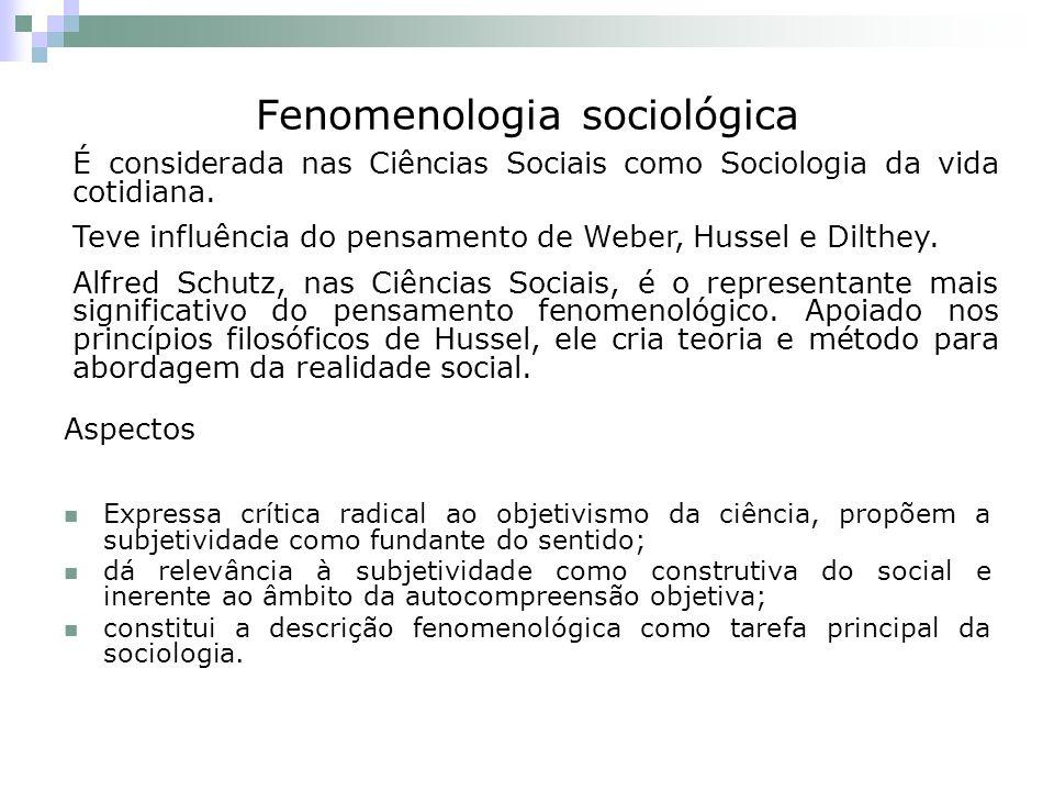 Fenomenologia sociológica Aspectos Expressa crítica radical ao objetivismo da ciência, propõem a subjetividade como fundante do sentido; dá relevância à subjetividade como construtiva do social e inerente ao âmbito da autocompreensão objetiva; constitui a descrição fenomenológica como tarefa principal da sociologia.