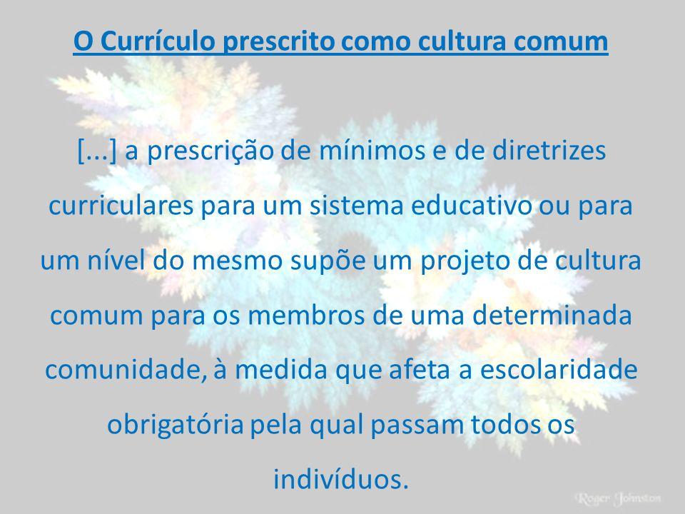 O Currículo prescrito como cultura comum [...] a prescrição de mínimos e de diretrizes curriculares para um sistema educativo ou para um nível do mesm