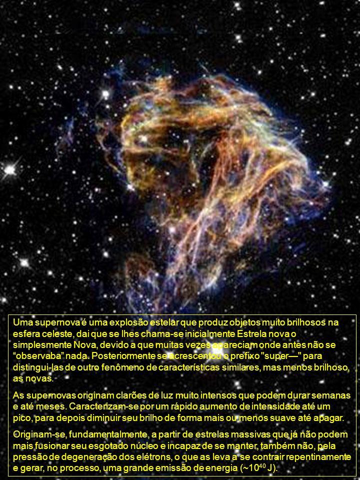 Uma supernova é uma explosão estelar que produz objetos muito brilhosos na esfera celeste, dai que se lhes chama-se inicialmente Estrela nova o simple