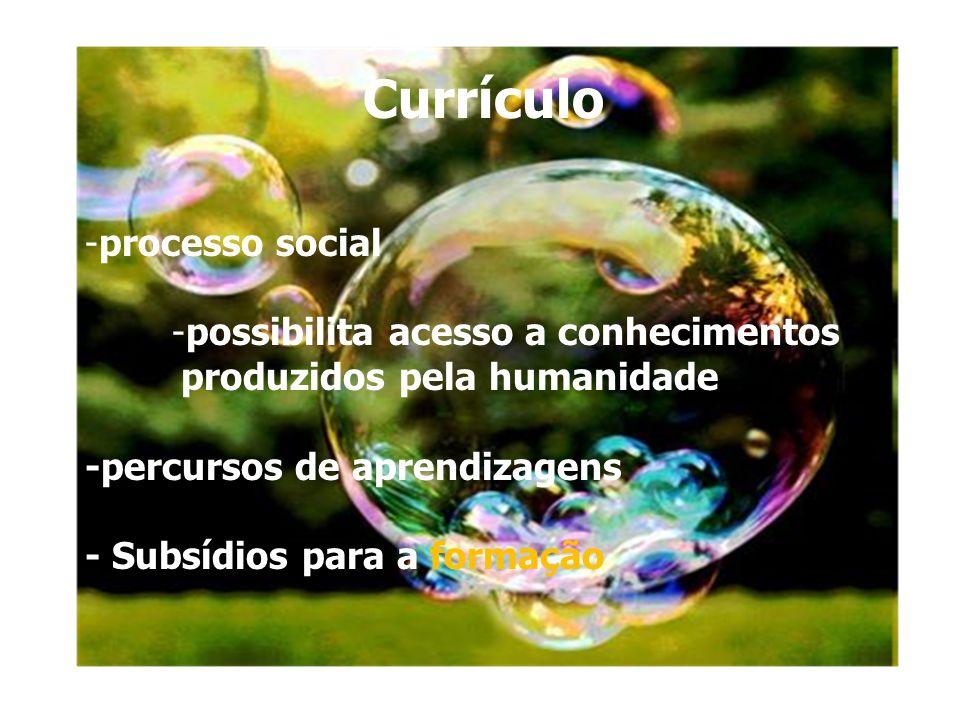 curriculo Currículo -processo social -possibilita acesso a conhecimentos produzidos pela humanidade -percursos de aprendizagens - Subsídios para a for
