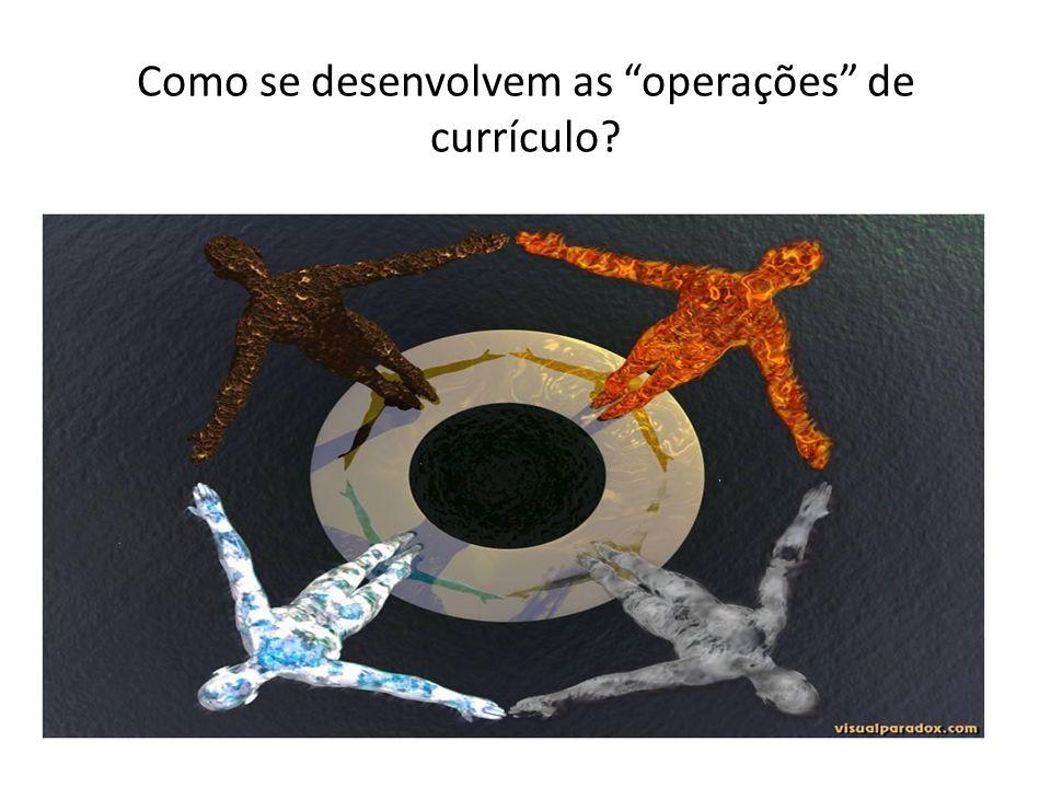 Como se desenvolvem as operações de currículo?
