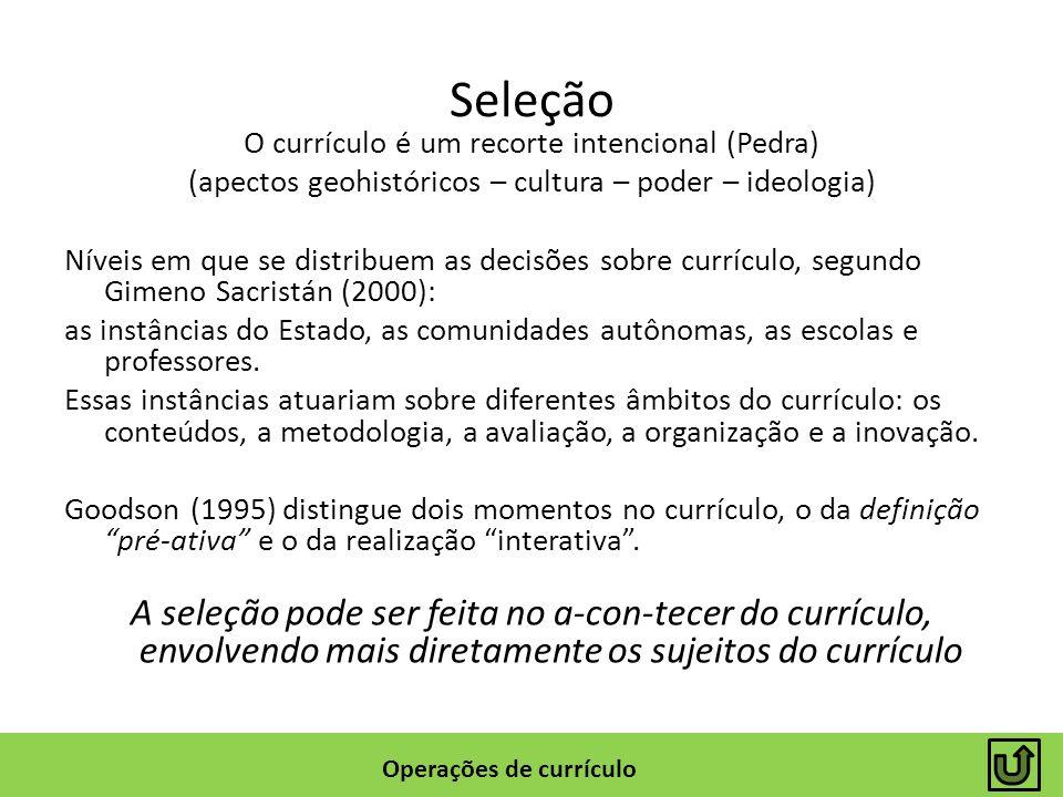 Seleção O currículo é um recorte intencional (Pedra) (apectos geohistóricos – cultura – poder – ideologia) Níveis em que se distribuem as decisões sob