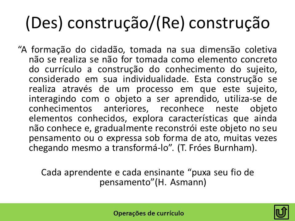 (Des) construção/(Re) construção A formação do cidadão, tomada na sua dimensão coletiva não se realiza se não for tomada como elemento concreto do cur