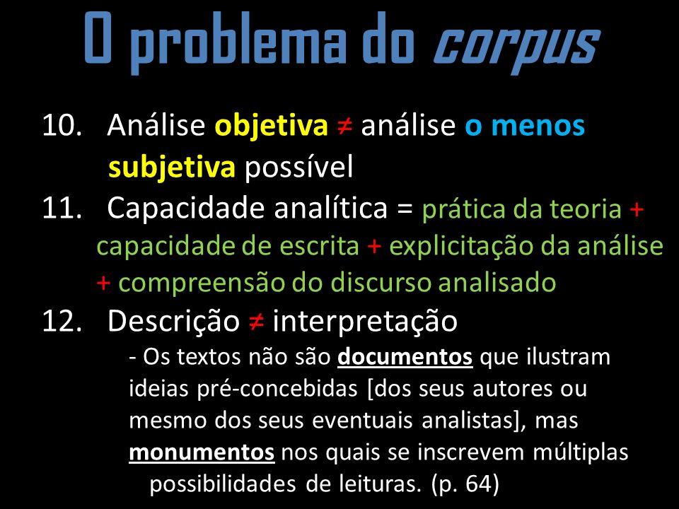 O problema do corpus 10. Análise objetiva análise o menos subjetiva possível 11. Capacidade analítica = prática da teoria + capacidade de escrita + ex