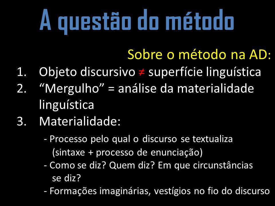 A questão do método Sobre o método na AD : 1.Objeto discursivo superfície linguística 2.Mergulho = análise da materialidade linguística 3.Materialidad
