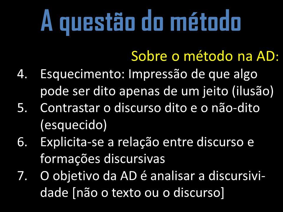 A questão do método Sobre o método na AD : 4.Esquecimento: Impressão de que algo pode ser dito apenas de um jeito (ilusão) 5.Contrastar o discurso dit