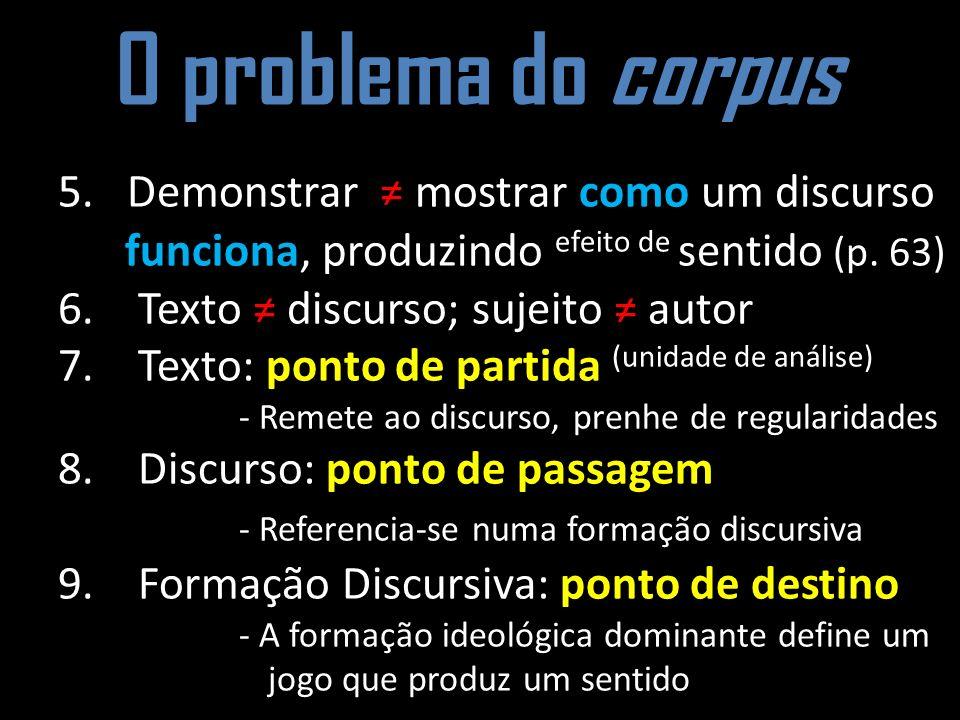 O problema do corpus 5. Demonstrar mostrar como um discurso funciona, produzindo efeito de sentido (p. 63) 6. Texto discurso; sujeito autor 7. Texto: