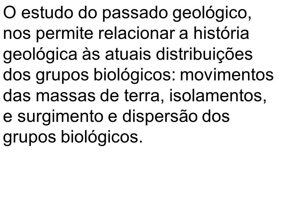 O estudo do passado geológico, nos permite relacionar a história geológica às atuais distribuições dos grupos biológicos: movimentos das massas de ter