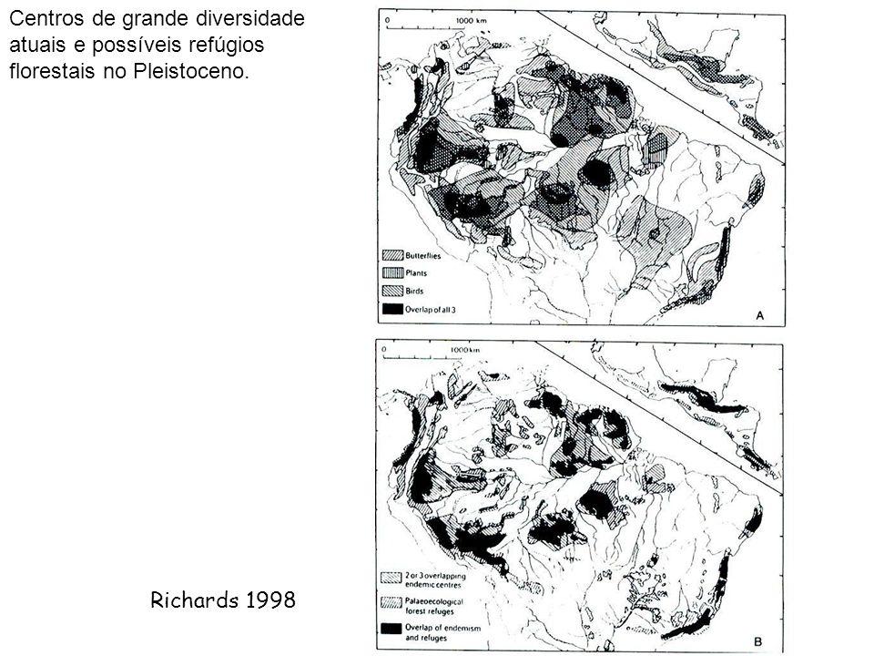 Richards 1998 Centros de grande diversidade atuais e possíveis refúgios florestais no Pleistoceno.