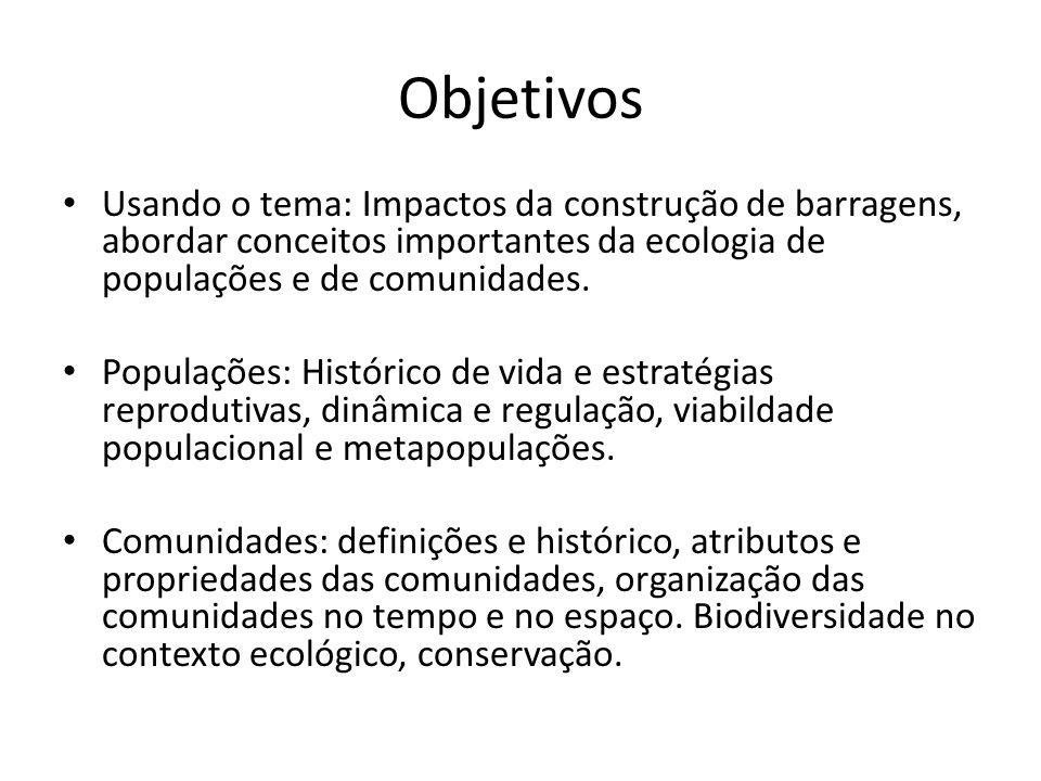 Objetivos Usando o tema: Impactos da construção de barragens, abordar conceitos importantes da ecologia de populações e de comunidades. Populações: Hi