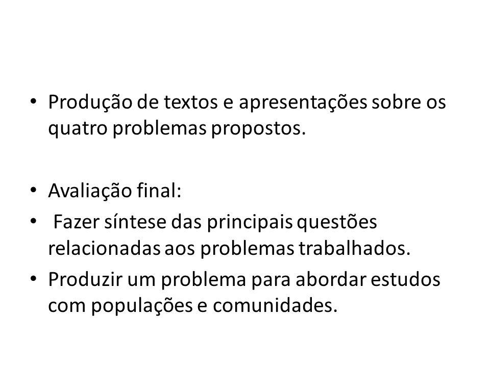 Produção de textos e apresentações sobre os quatro problemas propostos. Avaliação final: Fazer síntese das principais questões relacionadas aos proble