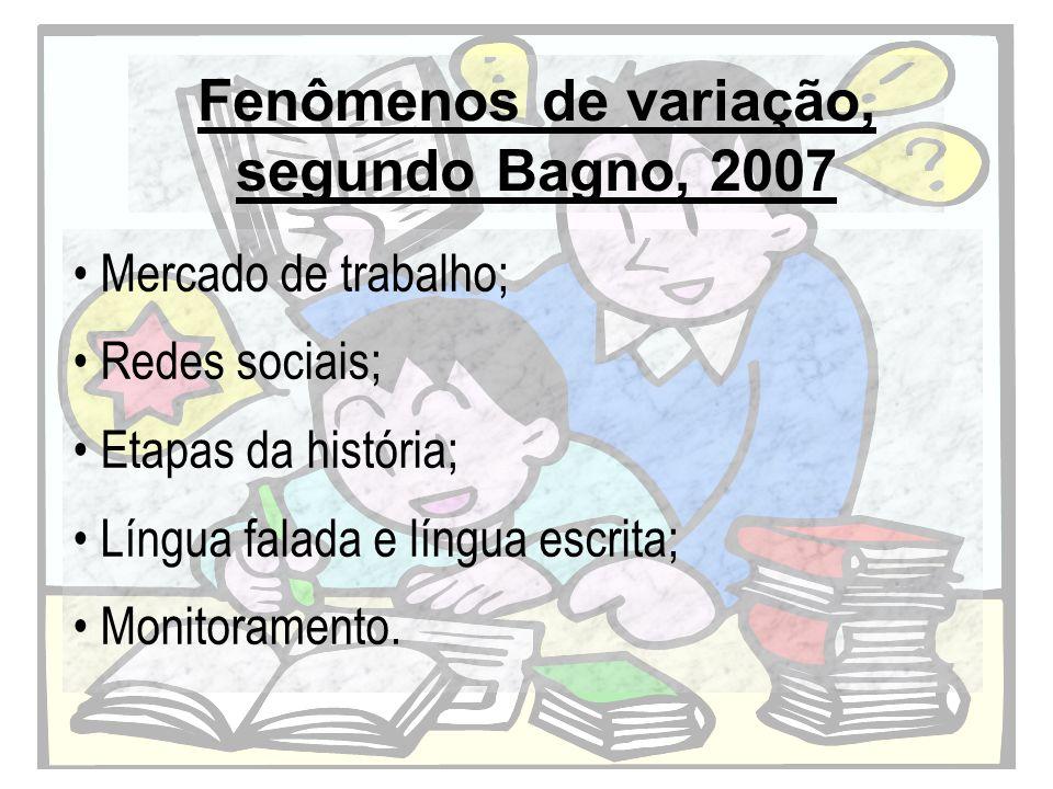 Fenômenos de variação, segundo Bagno, 2007 Mercado de trabalho; Redes sociais; Etapas da história; Língua falada e língua escrita; Monitoramento.