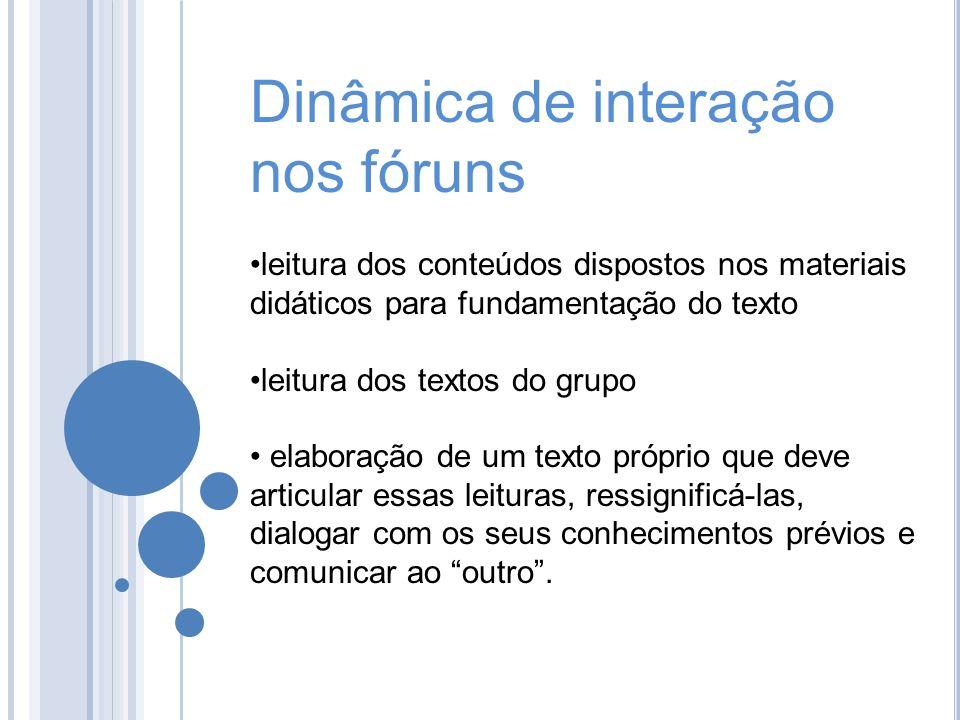 Dinâmica de interação nos fóruns leitura dos conteúdos dispostos nos materiais didáticos para fundamentação do texto leitura dos textos do grupo elabo