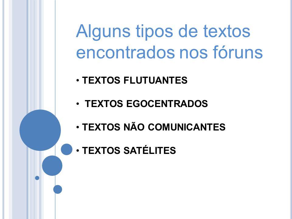 Alguns tipos de textos encontrados nos fóruns TEXTOS FLUTUANTES TEXTOS EGOCENTRADOS TEXTOS NÃO COMUNICANTES TEXTOS SATÉLITES