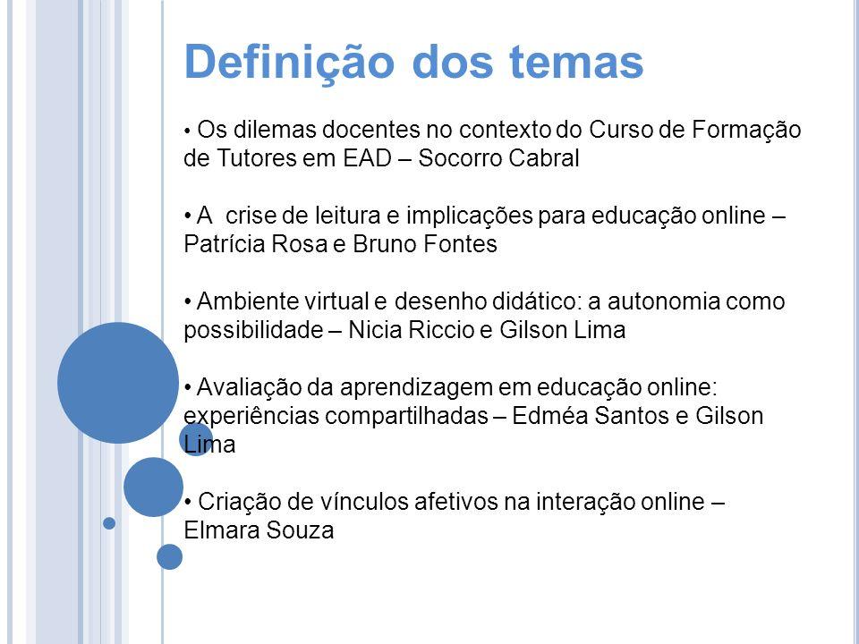 Definição dos temas Os dilemas docentes no contexto do Curso de Formação de Tutores em EAD – Socorro Cabral A crise de leitura e implicações para educ