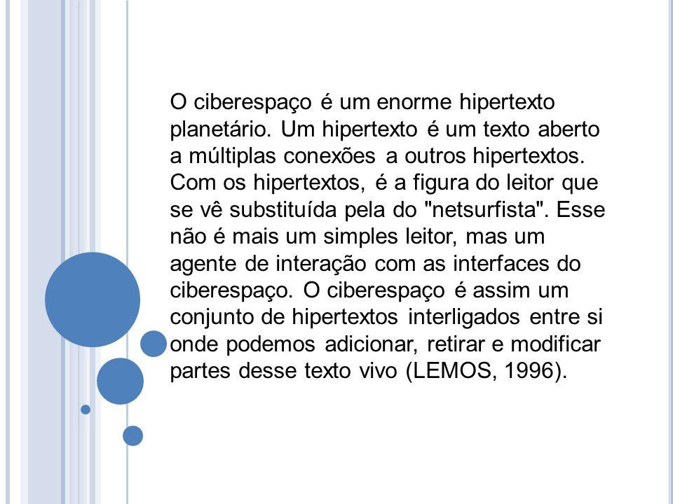 O ciberespaço é um enorme hipertexto planetário. Um hipertexto é um texto aberto a múltiplas conexões a outros hipertextos. Com os hipertextos, é a fi