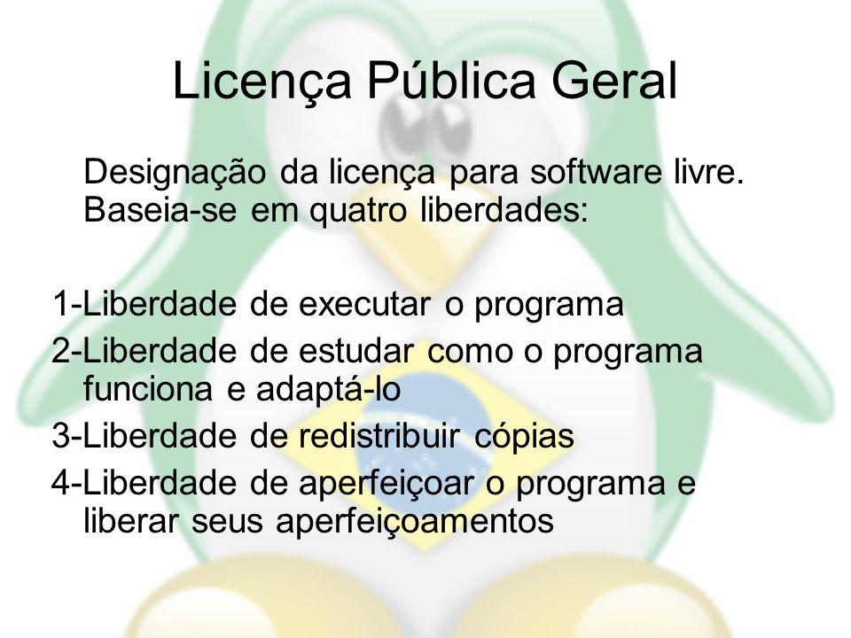Licença Pública Geral Designação da licença para software livre. Baseia-se em quatro liberdades: 1-Liberdade de executar o programa 2-Liberdade de est