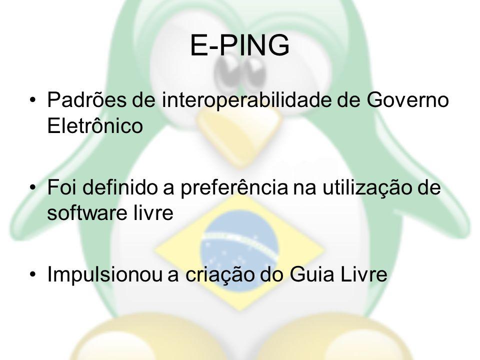 E-PING Padrões de interoperabilidade de Governo Eletrônico Foi definido a preferência na utilização de software livre Impulsionou a criação do Guia Li