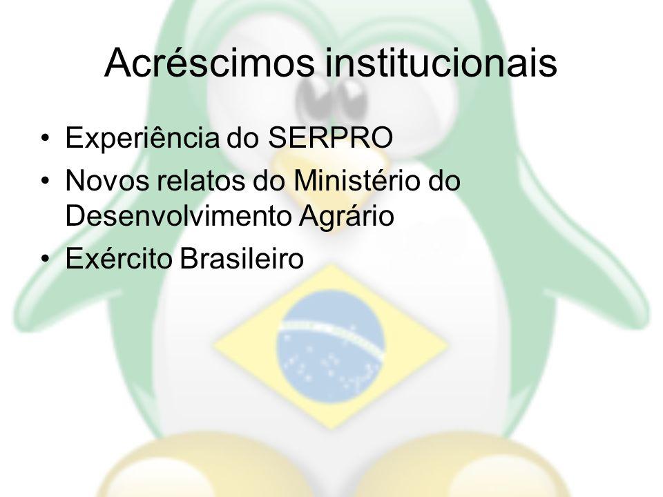 Acréscimos institucionais Experiência do SERPRO Novos relatos do Ministério do Desenvolvimento Agrário Exército Brasileiro