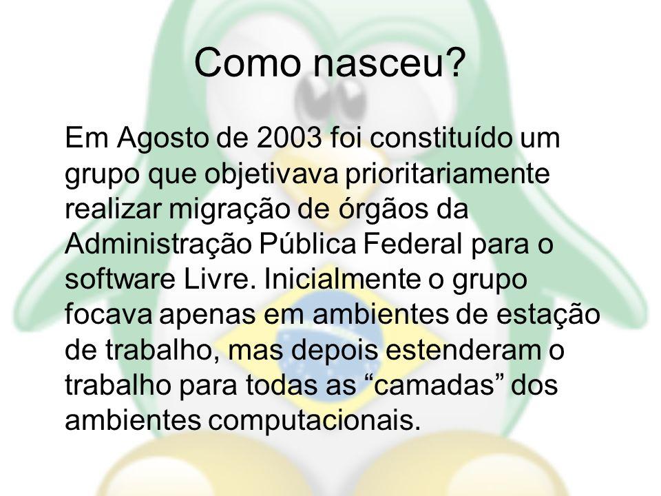 Como nasceu? Em Agosto de 2003 foi constituído um grupo que objetivava prioritariamente realizar migração de órgãos da Administração Pública Federal p