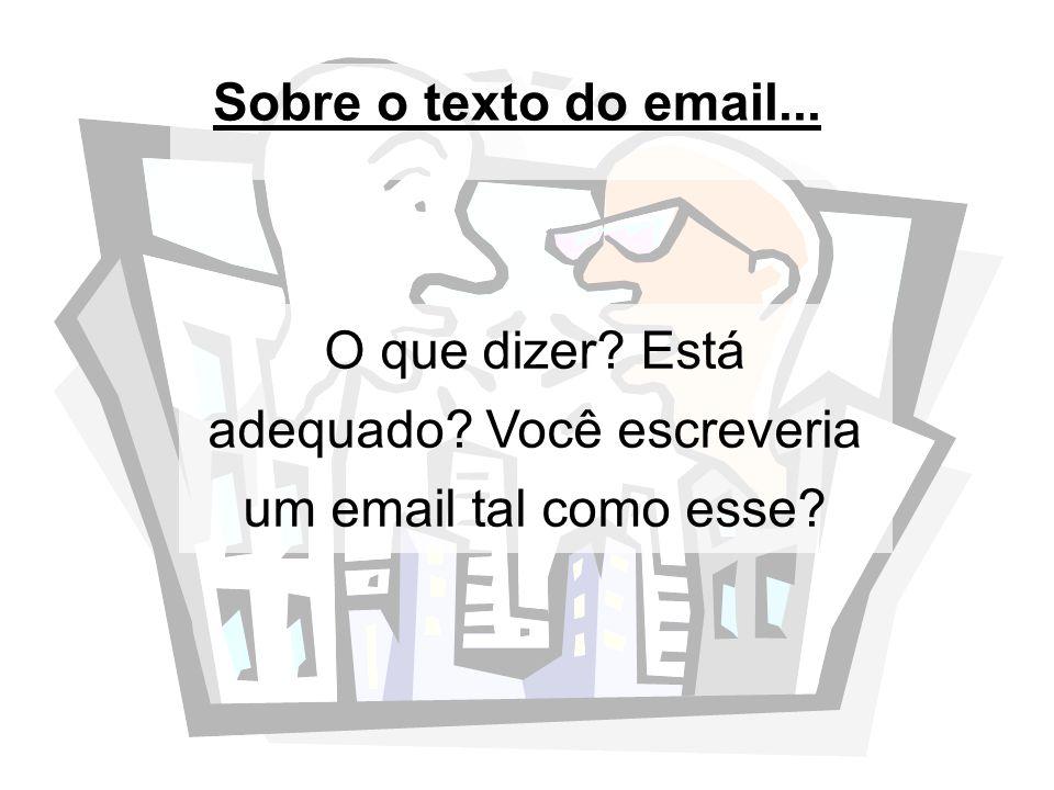 Sobre o texto do email... O que dizer? Está adequado? Você escreveria um email tal como esse?
