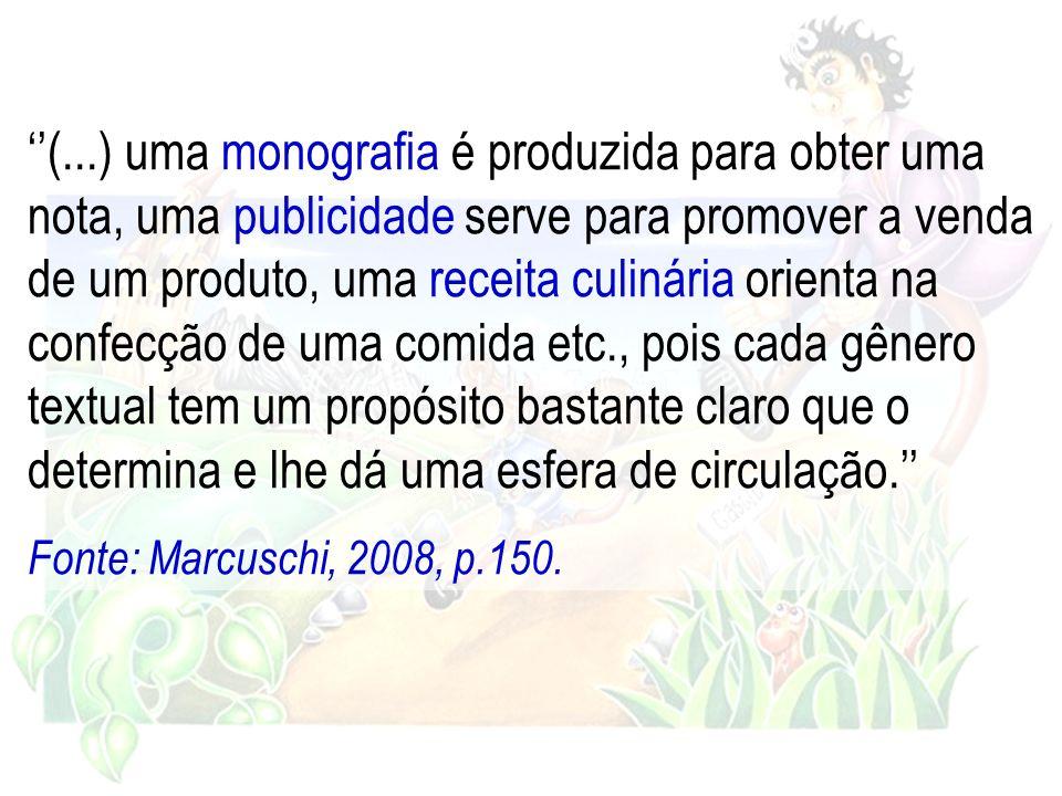 (...) uma monografia é produzida para obter uma nota, uma publicidade serve para promover a venda de um produto, uma receita culinária orienta na conf