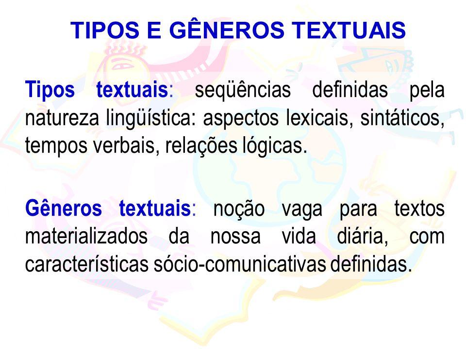TIPOS E GÊNEROS TEXTUAIS Tipos textuais : seqüências definidas pela natureza lingüística: aspectos lexicais, sintáticos, tempos verbais, relações lógi