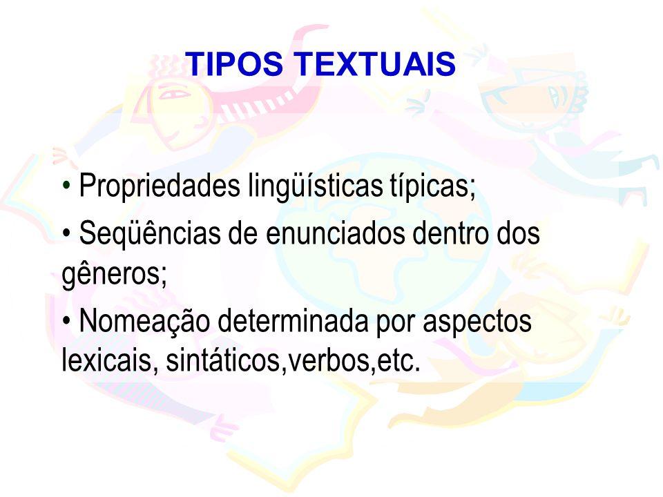 TIPOS TEXTUAIS Propriedades lingüísticas típicas; Seqüências de enunciados dentro dos gêneros; Nomeação determinada por aspectos lexicais, sintáticos,