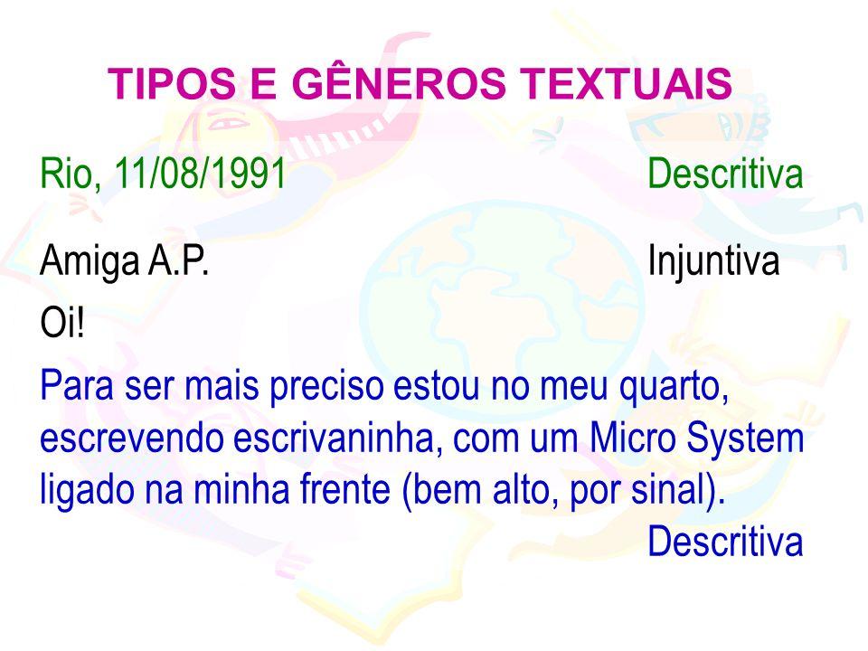 TIPOS E GÊNEROS TEXTUAIS Rio, 11/08/1991Descritiva Amiga A.P.Injuntiva Oi! Para ser mais preciso estou no meu quarto, escrevendo escrivaninha, com um