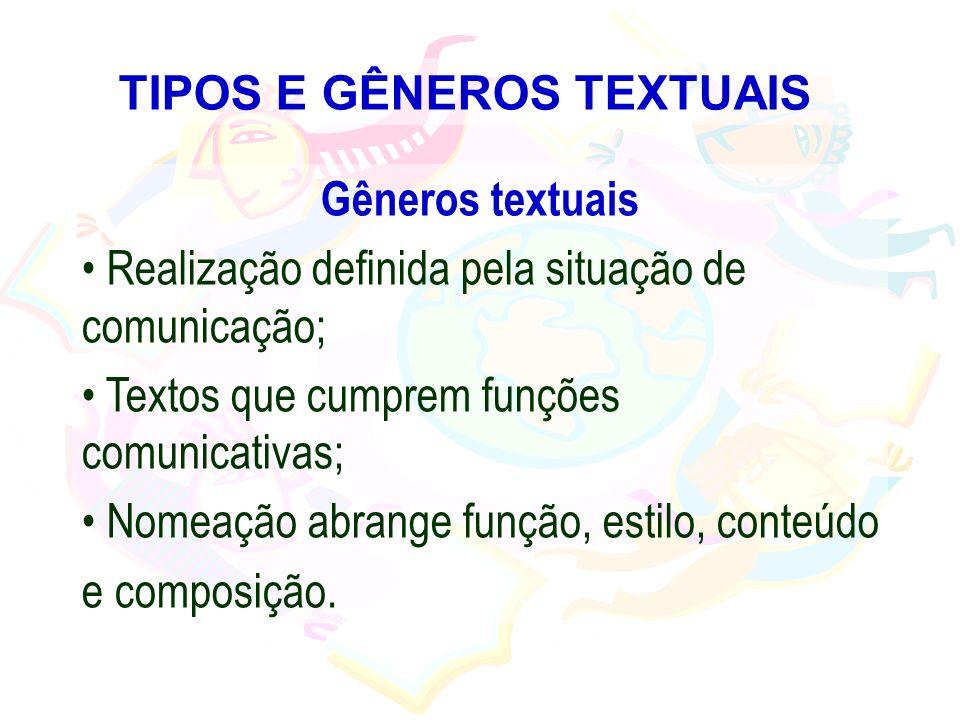 TIPOS E GÊNEROS TEXTUAIS Gêneros textuais Realização definida pela situação de comunicação; Textos que cumprem funções comunicativas; Nomeação abrange