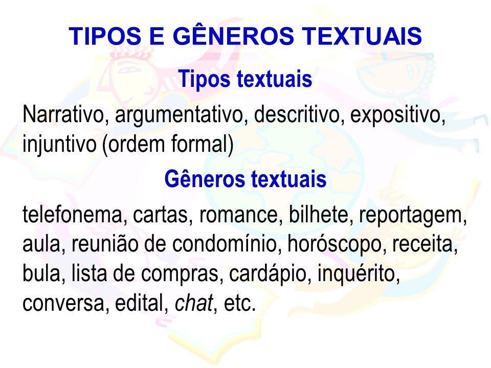 TIPOS E GÊNEROS TEXTUAIS Tipos textuais Narrativo, argumentativo, descritivo, expositivo, injuntivo (ordem formal) Gêneros textuais telefonema, cartas