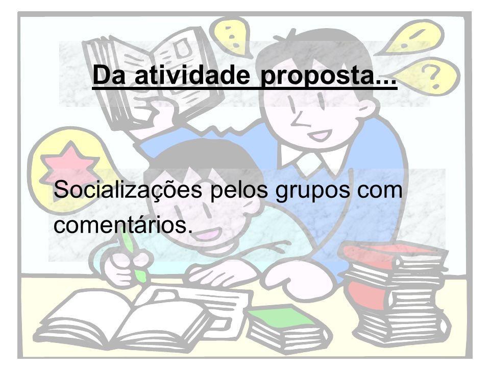 Da atividade proposta... Socializações pelos grupos com comentários.