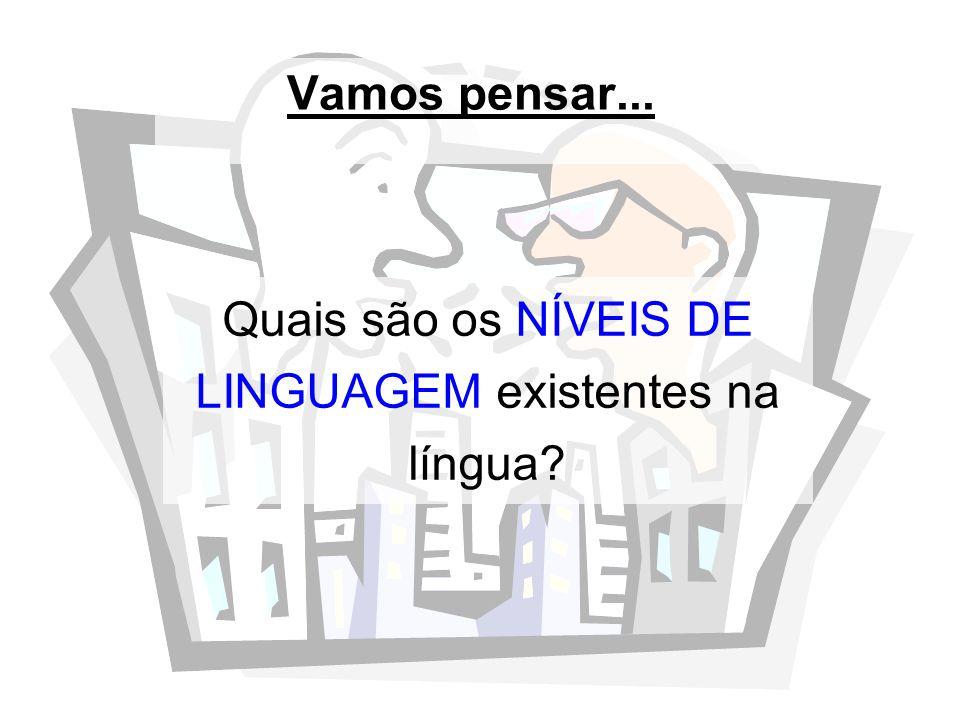 Vamos pensar... Quais são os NÍVEIS DE LINGUAGEM existentes na língua?