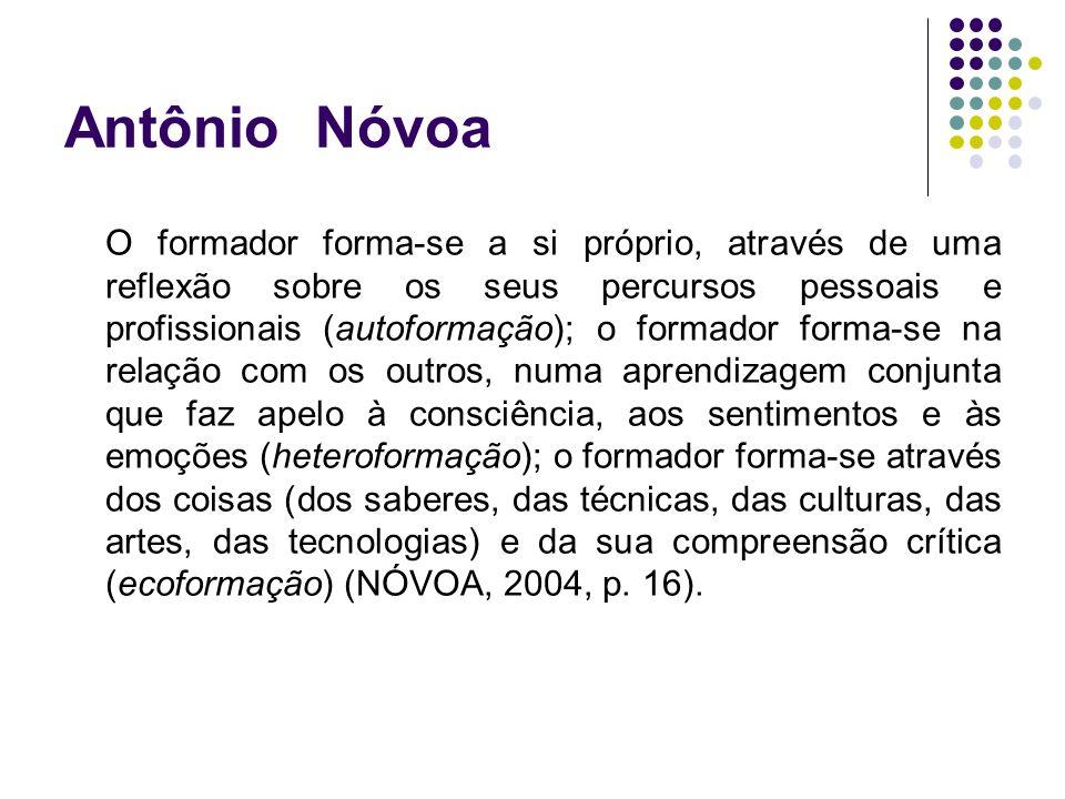 Antônio Nóvoa O formador forma-se a si próprio, através de uma reflexão sobre os seus percursos pessoais e profissionais (autoformação); o formador fo