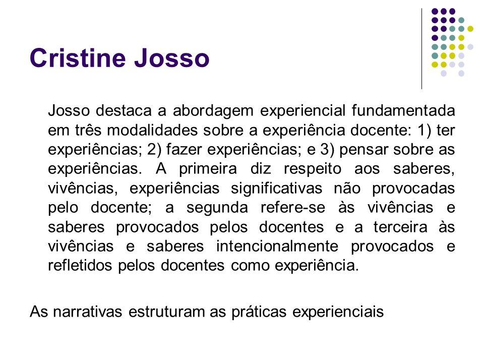 Cristine Josso Josso destaca a abordagem experiencial fundamentada em três modalidades sobre a experiência docente: 1) ter experiências; 2) fazer expe
