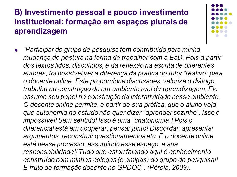 B) Investimento pessoal e pouco investimento institucional: formação em espaços plurais de aprendizagem Participar do grupo de pesquisa tem contribuíd