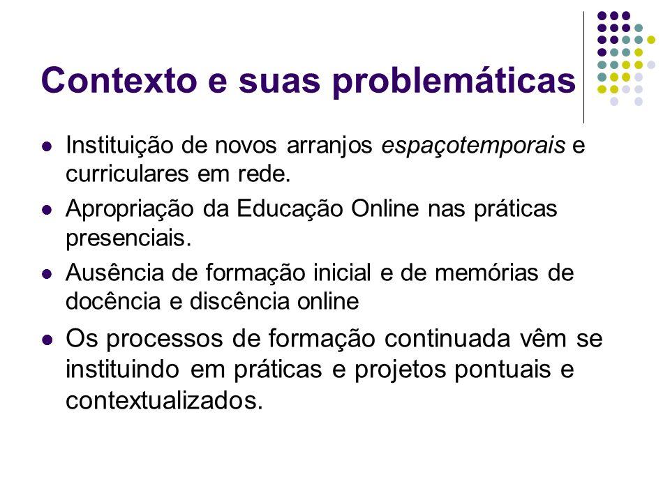 Contexto e suas problemáticas Instituição de novos arranjos espaçotemporais e curriculares em rede. Apropriação da Educação Online nas práticas presen