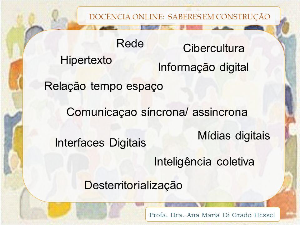 DOCÊNCIA ONLINE: SABERES EM CONSTRUÇÃO Profa. Dra. Ana Maria Di Grado Hessel Informação digital Rede Cibercultura Mídias digitais Interfaces Digitais