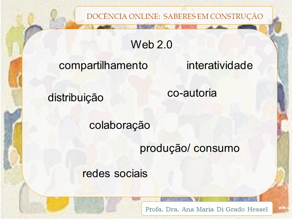 DOCÊNCIA ONLINE: SABERES EM CONSTRUÇÃO Profa. Dra. Ana Maria Di Grado Hessel Web 2.0 compartilhamento co-autoria interatividade distribuição colaboraç