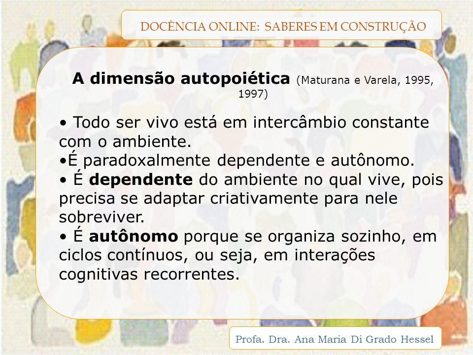 DOCÊNCIA ONLINE: SABERES EM CONSTRUÇÃO Profa. Dra. Ana Maria Di Grado Hessel A dimensão autopoiética (Maturana e Varela, 1995, 1997) Todo ser vivo est