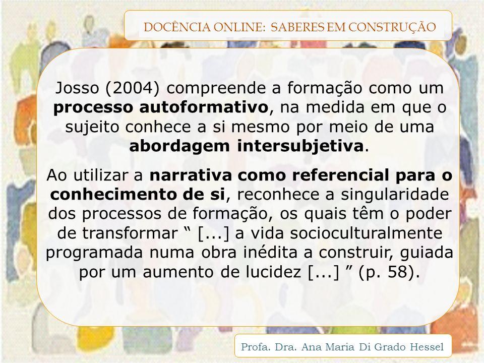 DOCÊNCIA ONLINE: SABERES EM CONSTRUÇÃO Profa. Dra. Ana Maria Di Grado Hessel Josso (2004) compreende a formação como um processo autoformativo, na med