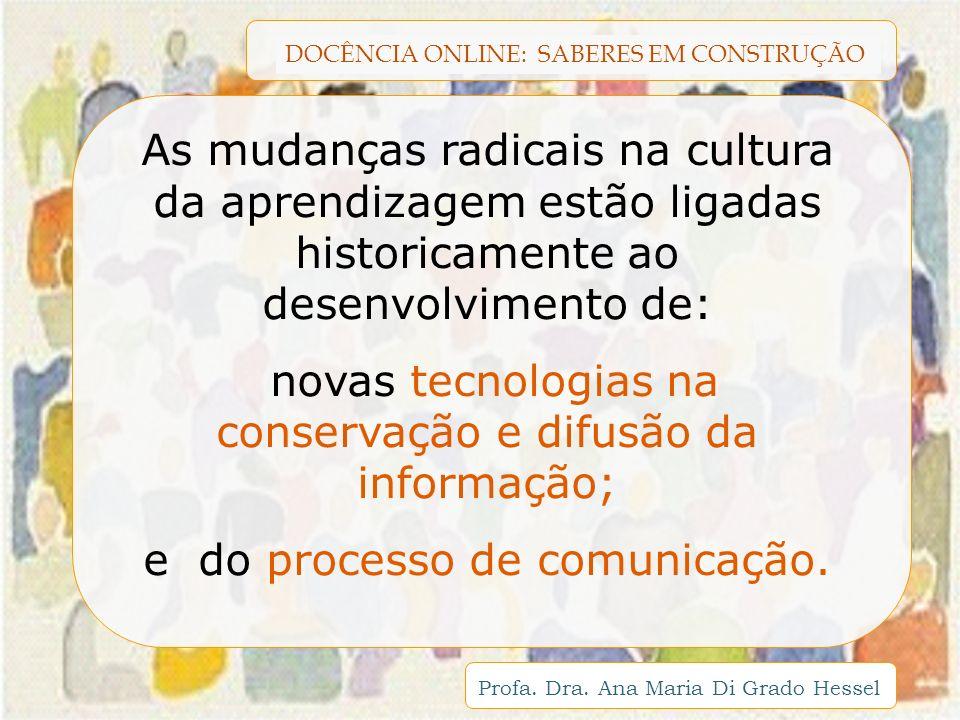 DOCÊNCIA ONLINE: SABERES EM CONSTRUÇÃO Profa. Dra. Ana Maria Di Grado Hessel As mudanças radicais na cultura da aprendizagem estão ligadas historicame