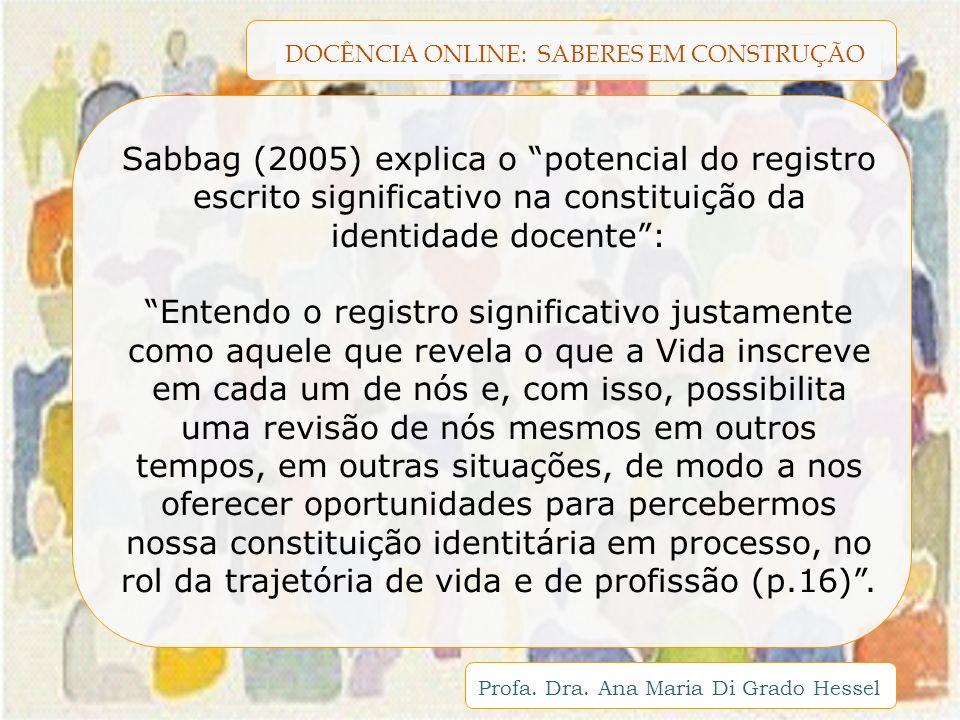 DOCÊNCIA ONLINE: SABERES EM CONSTRUÇÃO Profa. Dra. Ana Maria Di Grado Hessel Sabbag (2005) explica o potencial do registro escrito significativo na co