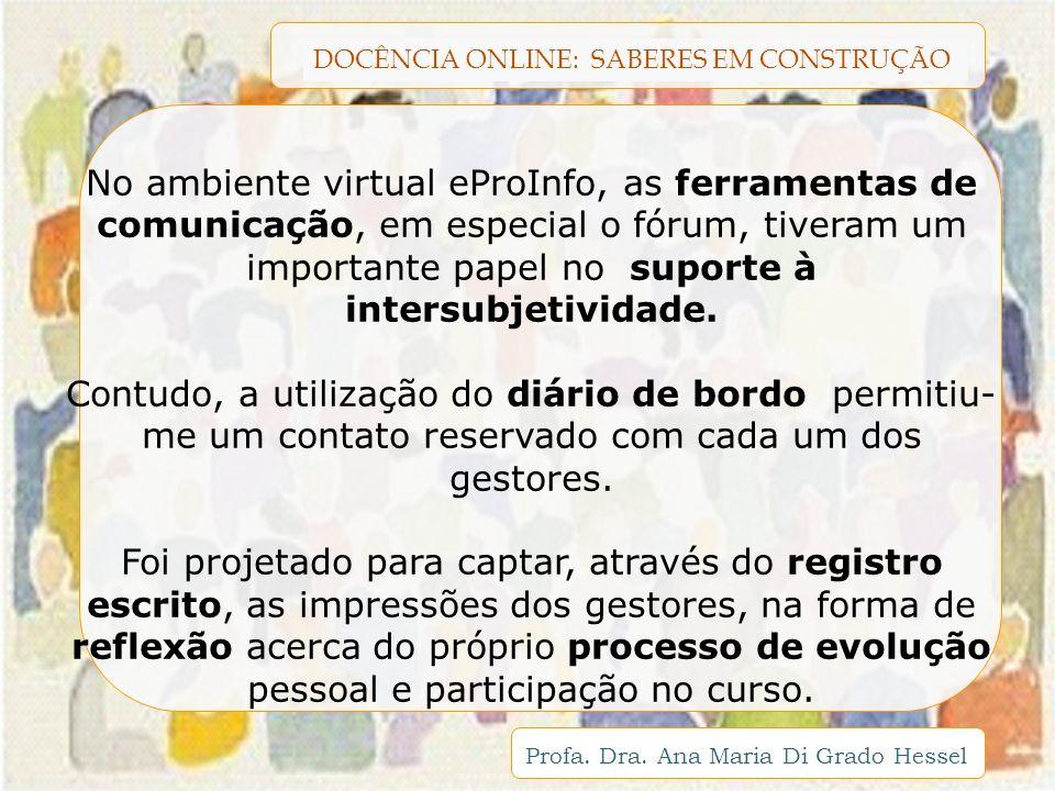 DOCÊNCIA ONLINE: SABERES EM CONSTRUÇÃO Profa. Dra. Ana Maria Di Grado Hessel No ambiente virtual eProInfo, as ferramentas de comunicação, em especial
