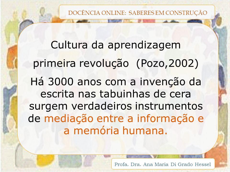 DOCÊNCIA ONLINE: SABERES EM CONSTRUÇÃO Profa. Dra. Ana Maria Di Grado Hessel Cultura da aprendizagem primeira revolução (Pozo,2002) Há 3000 anos com a