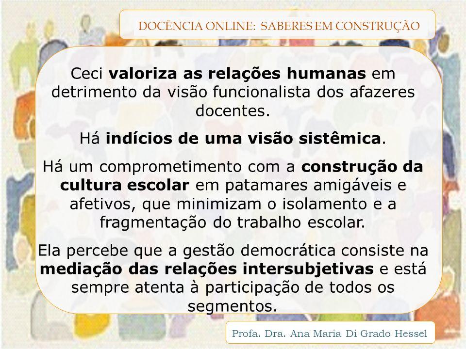 DOCÊNCIA ONLINE: SABERES EM CONSTRUÇÃO Profa. Dra. Ana Maria Di Grado Hessel Ceci valoriza as relações humanas em detrimento da visão funcionalista do