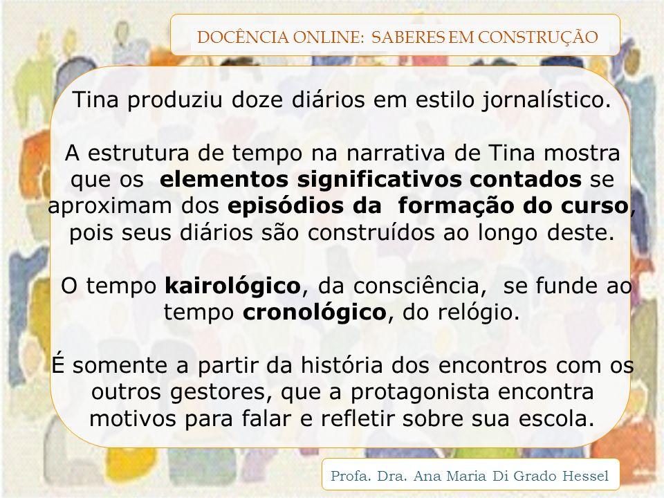 DOCÊNCIA ONLINE: SABERES EM CONSTRUÇÃO Profa. Dra. Ana Maria Di Grado Hessel Tina produziu doze diários em estilo jornalístico. A estrutura de tempo n
